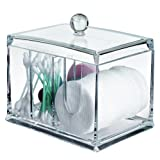 AcryliCase Clear Acrylic Organizer, Storage Box For Cotton Swabs, Q-Tips, Make Up Pads, Cosmetics & More - For Bathroom & Vanity clear
