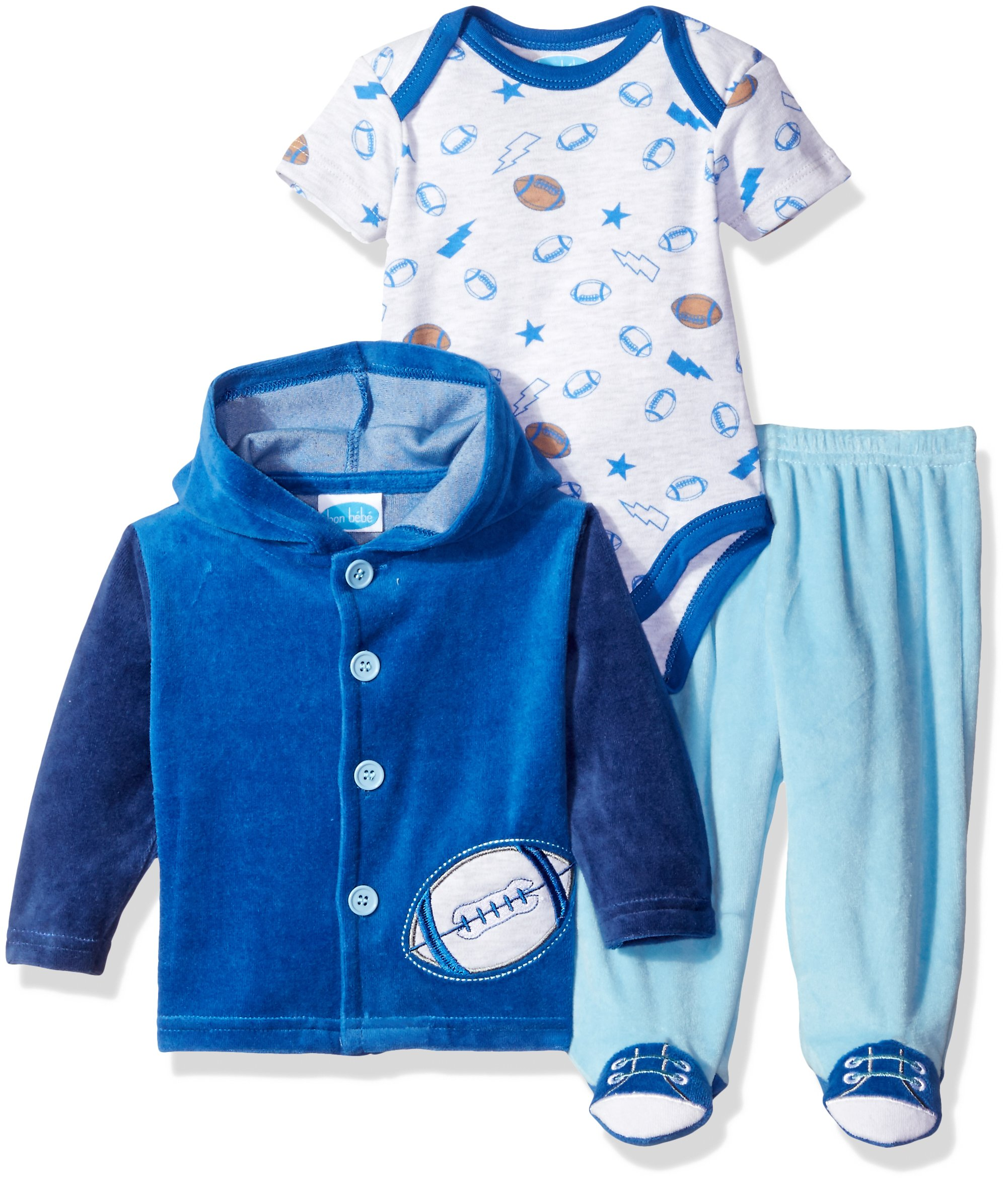 Bon Bebe Baby Boys' 3 Piece Velour Jacket Set with