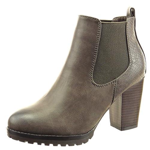 3b20b7a5344 Sopily - Zapatillas de Moda Botines chelsea boots A medio muslo mujer piel  de serpiente Talón