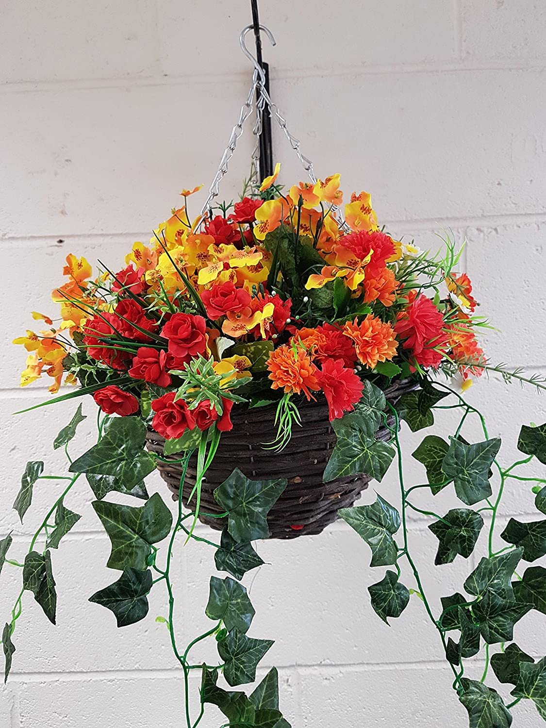 Artificial Hanging Basket Autumn Winter, Red Yellow, and Orange Eternal Bloom