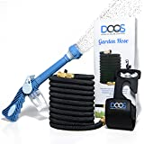 Premium 50 Ft Expandable Flexible Garden Water Hose By DooS | Extra Spray Nozzle W/ Soap Holder Expanding X3 Reel Brass | Retractable & Lightweight | Ideal For Gardening, Plants & Lawn | Get Yours Now