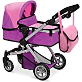 Mommy & Me Babyboo Deluxe Doll Stroller Foldable Doll Pram with Swiveling Wheels, Adjustable Handle, Convertible Seat, Basket, and Free Carriage Bag, Pink and Purple - 9651B