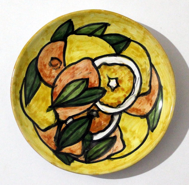 Arance e Limoni-Piatto di ceramica smaltato e decorato a mano, diametro cm 14 alto cm 2,2-MADE in ITALY, Toscana, Lucca.Creato da Davide Pacini.