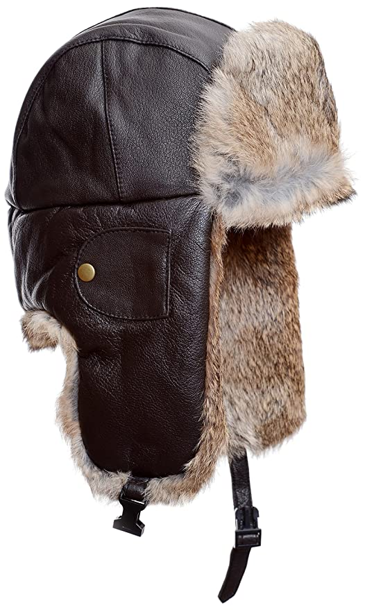Mad Bomber Brown Leather Pilot Aviator Bomber Hat Real Rabbit Fur Trapper  Hunting Cap ae4c2ab9cdcd