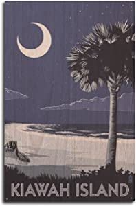 Lantern Press Kiawah Island, South Carolina - Palmetto Moon (10x15 Wood Wall Sign, Wall Decor Ready to Hang)