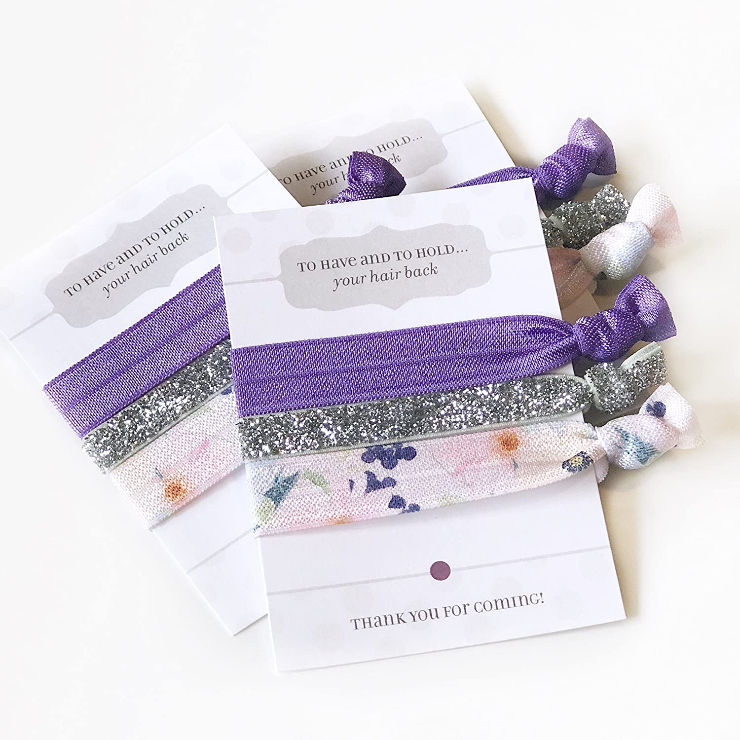 Purple Floral Bridal Shower and Bachelorette Party Favours - Hair Ties (5 Pack)
