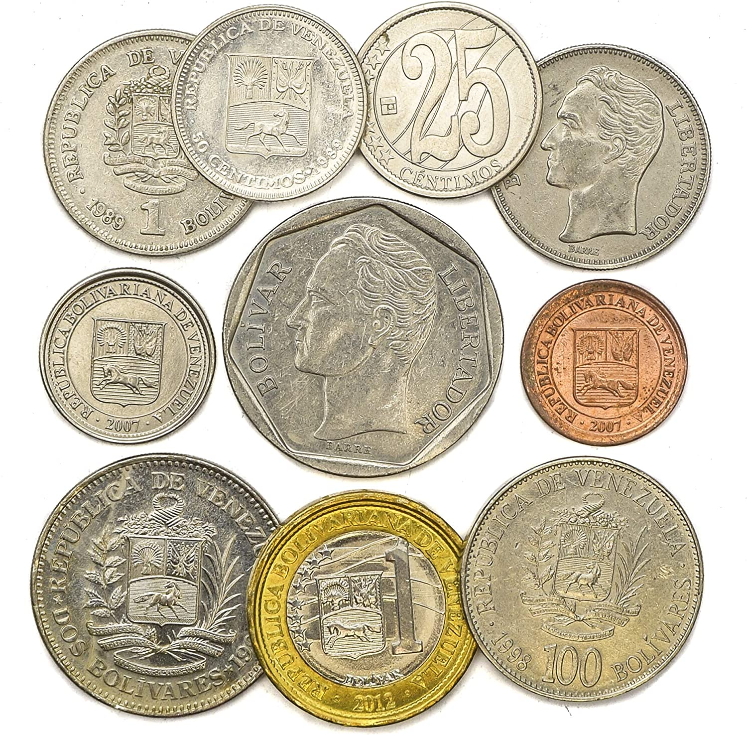 COINS FROM BOLIVARIAN REPUBLIC OF VENEZUELA SOUTH AMERICAN OLD COLLECTIBLE COINS