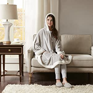 """Comfort Spaces Glimmersoft Plush to Sherpa Pocket Hooded Angel Wrap Ultra Soft Wearable Poncho Blanket Throw, 58""""x72"""", Grey"""