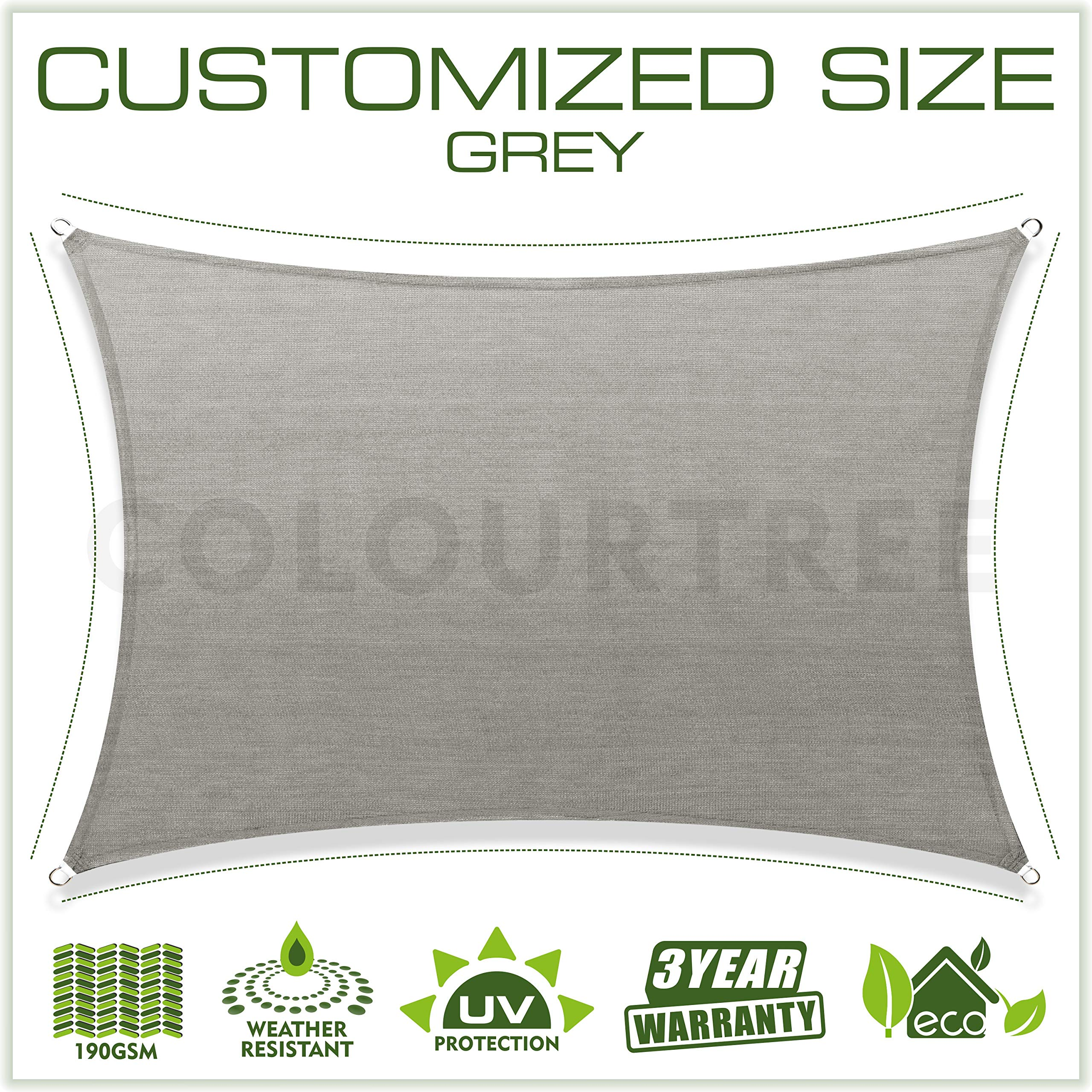 ColourTree Customized Size 8' x 24' Grey Sun Shade Sail Canopy UV Block Rectangle - Commercial Standard Heavy Duty - 190 GSM - 3 Years Warranty