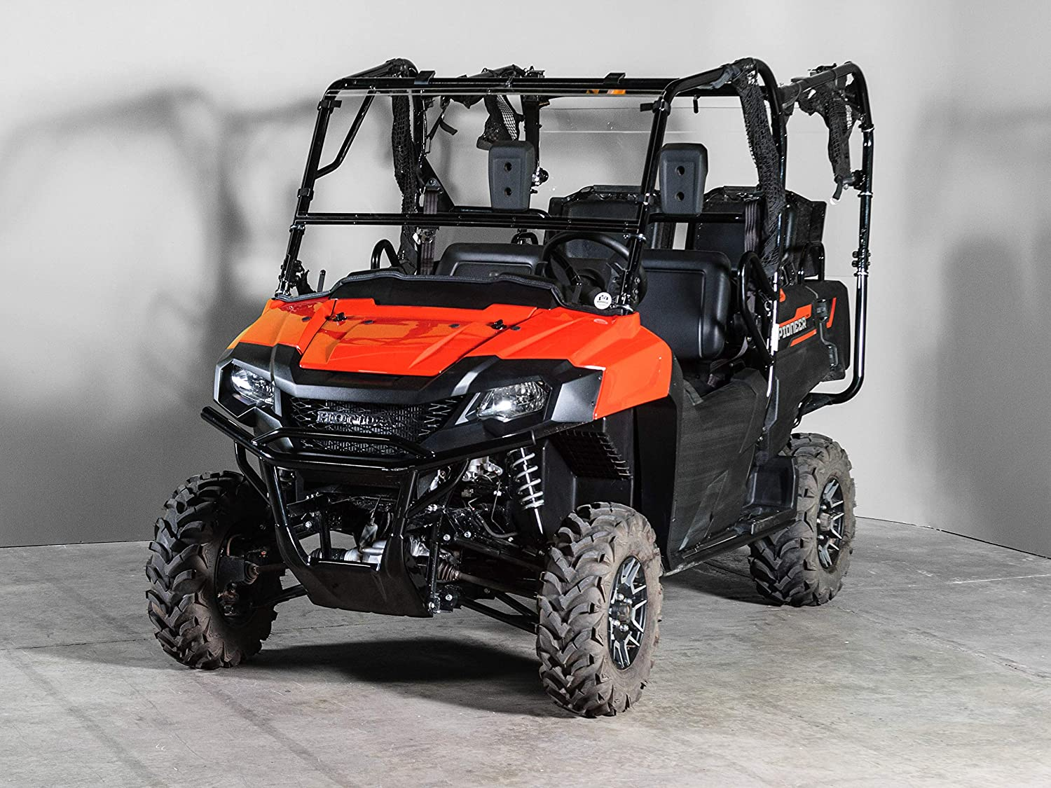 Half when you want and full when you need. HONDA PIONEER 500 Full-Tilt Windshield-Best of both worlds Does not fit the 700 or 1000 Made in America