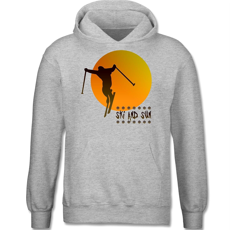 Sport Kind - Ski and Sun - Skifahrer - Kapuzenpullover / Kinder-Hoodie für Mädchen und Jungen