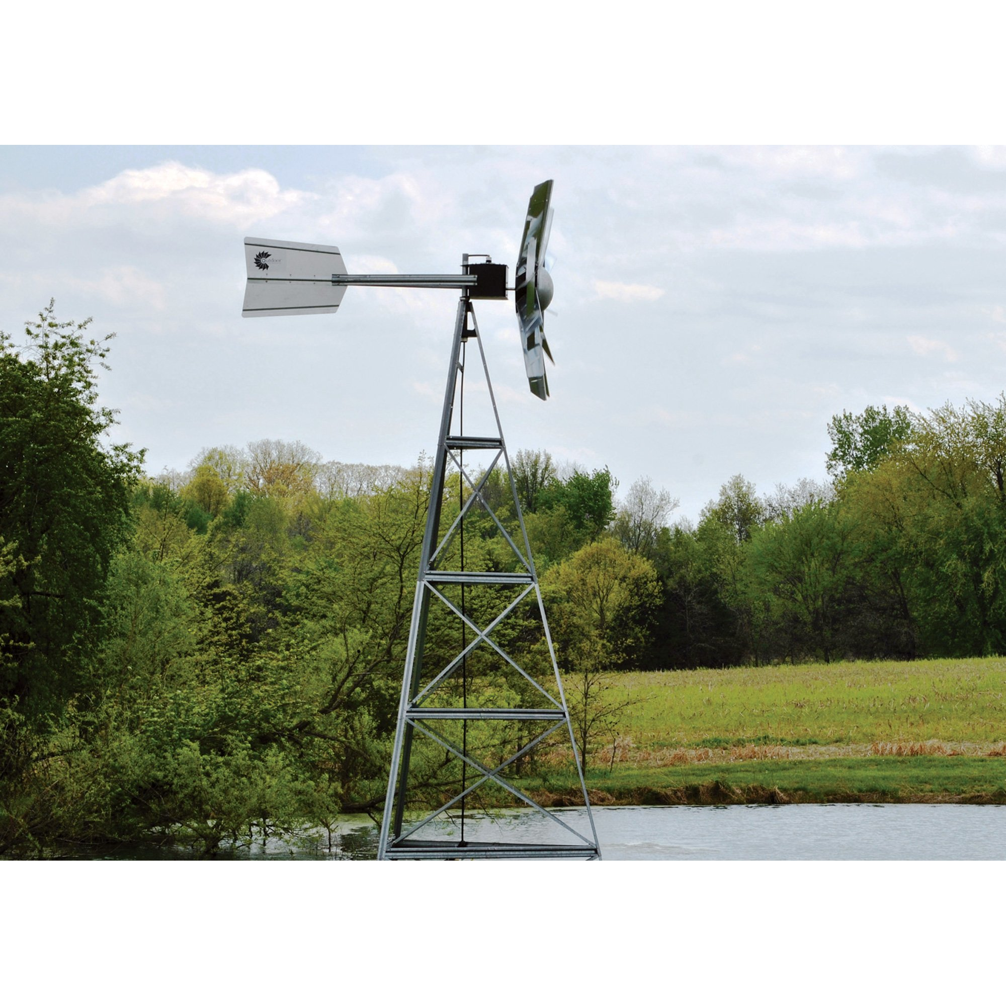 Outdoor Water Solutions AWS0012 16-Feet Galvanized 3-Legged Aeration System Windmill