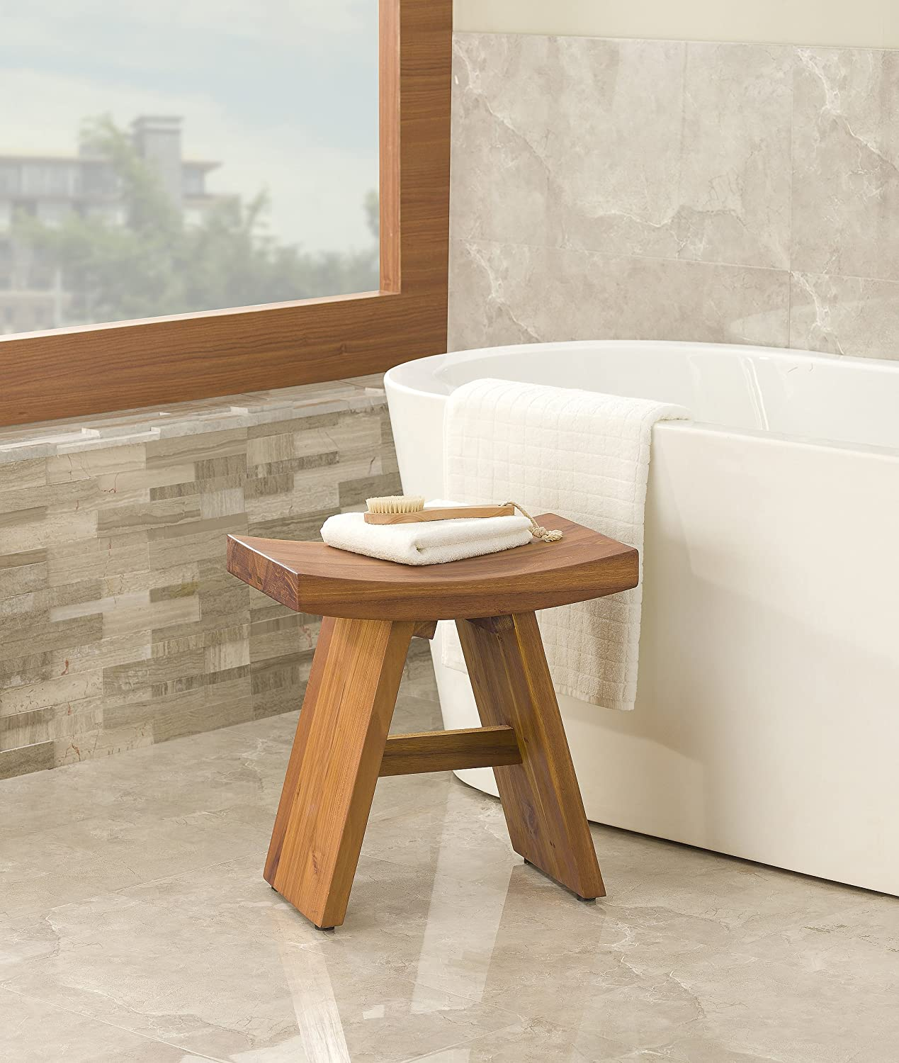 Amazon.com: The Original Asia Classic Floor Sample Teak Shower Stool ...