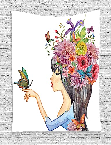 Ambesonne Watercolor Flower Tapestry, Floral Head Girl Holding Butterfly Romantic Feminine Spring Artwork, Wall Hanging for Bedroom Living Room Dorm Decor, 40 X 60 , Champagne