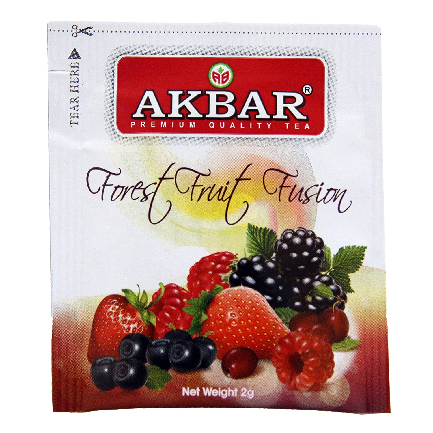 Akbar | Forest Fruit Fusion Tea | Food Service Pack | 100% Single Origin | Non GMO | Pure Ceylon Black Tea with real Strawberry, Blueberry, Cherry, and Blackcurrant pieces | All Natural | Pack of 100