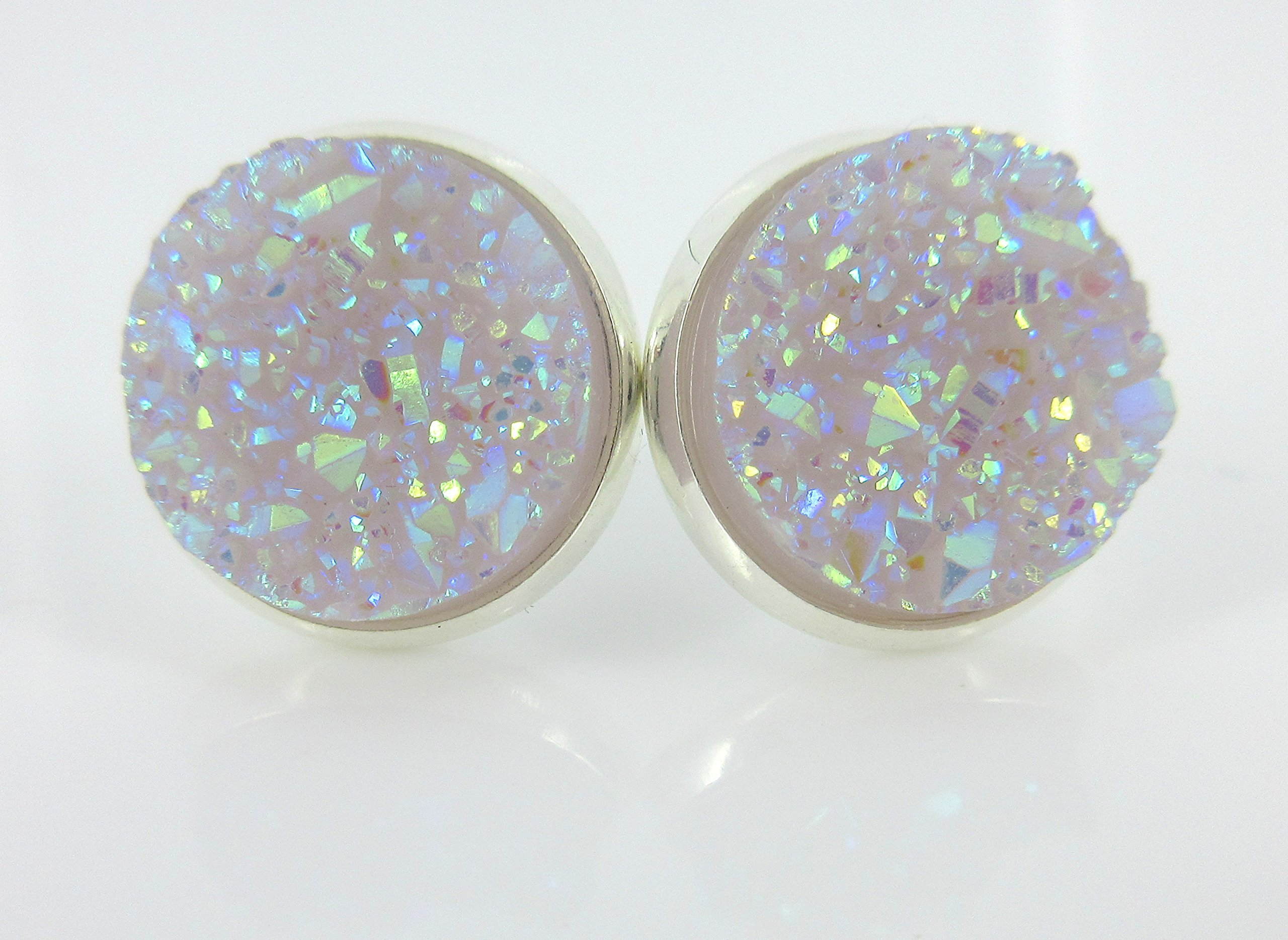 Silver-tone Lilac Purple Faux Druzy Stone Stud Earrings 12mm