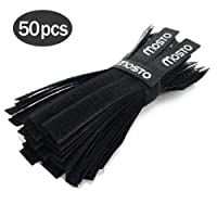 Mosto 50pcs Fastening Reusable Cable Cord Ties Tape Straps Wraps Wire Organizer Cords Holder For PC Computer TV Cables