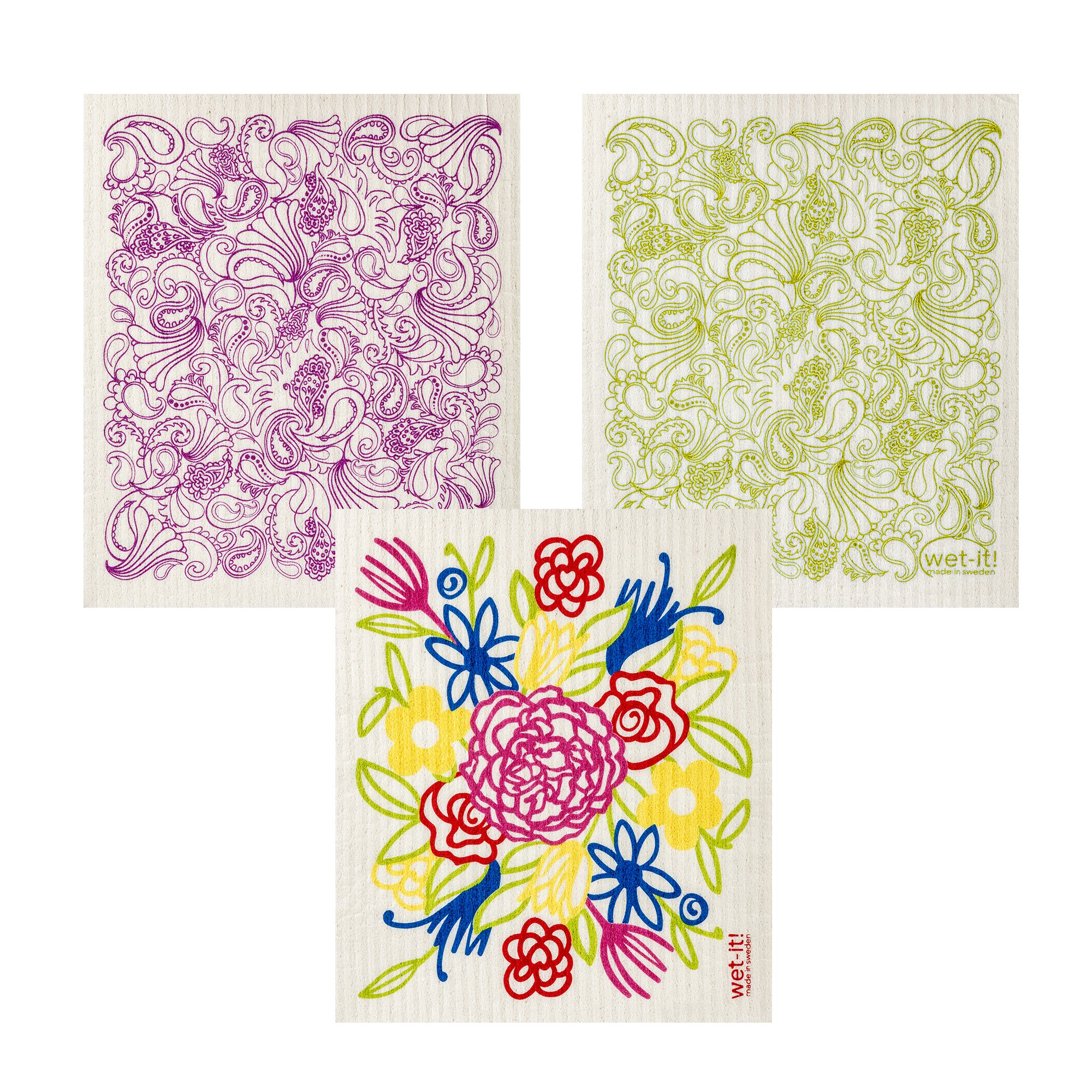 Wet-It Swedish Dishcloth Set of 3 (Flower Bouquet, Pink and Green Paisley)