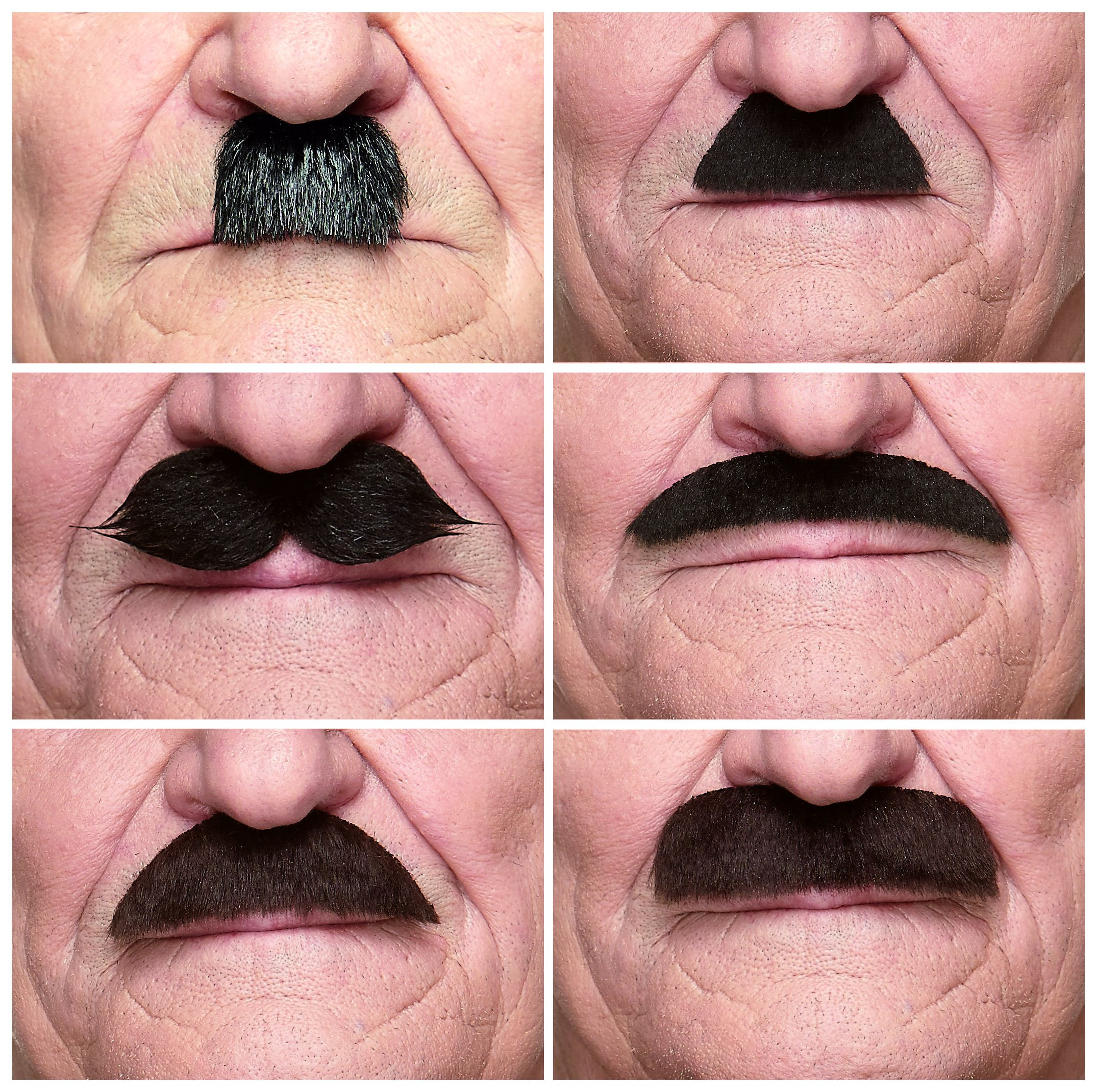 Mustaches Self Adhesive, Novelty, Fake, Value Pack (6pcs.)
