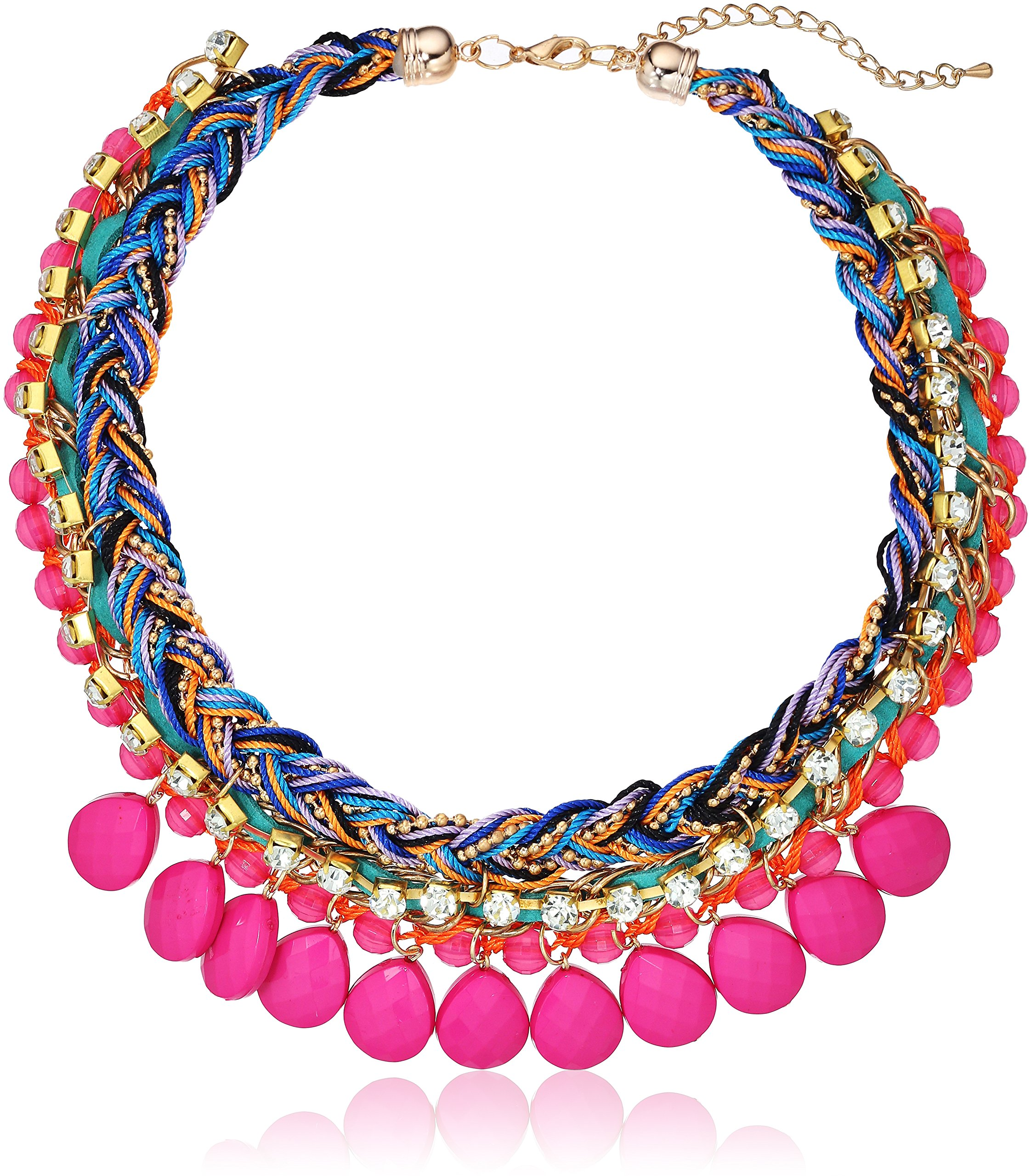 Pink Tone Morrocan Collar Braided Statement Chain Necklace, 20''