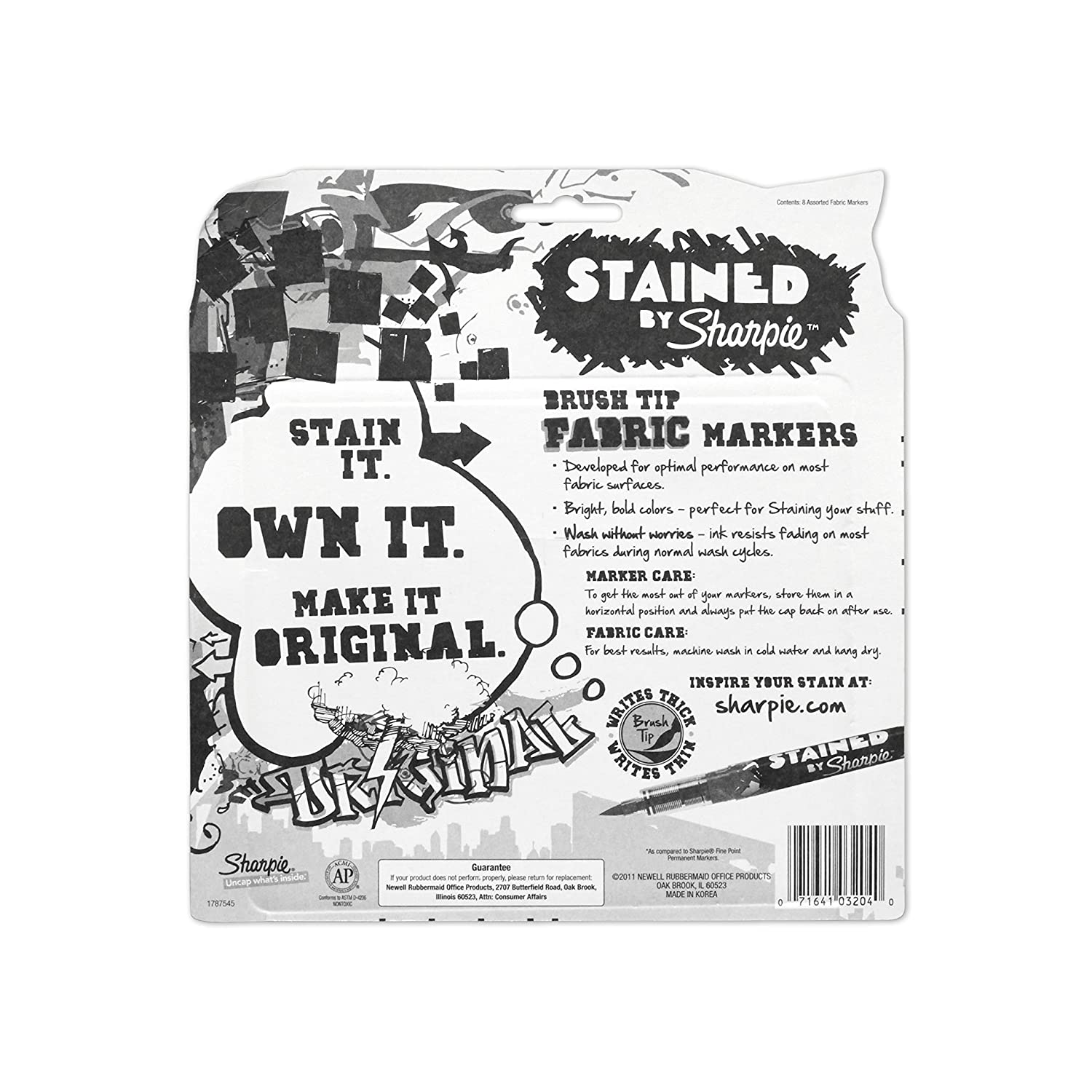 Stained By Sharpie Fabric Markers 8//Pkg