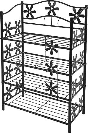 Scaffale multiuso giardino scarpiera portaoggetti metallo robusto decorativo ~ 3 ripiani