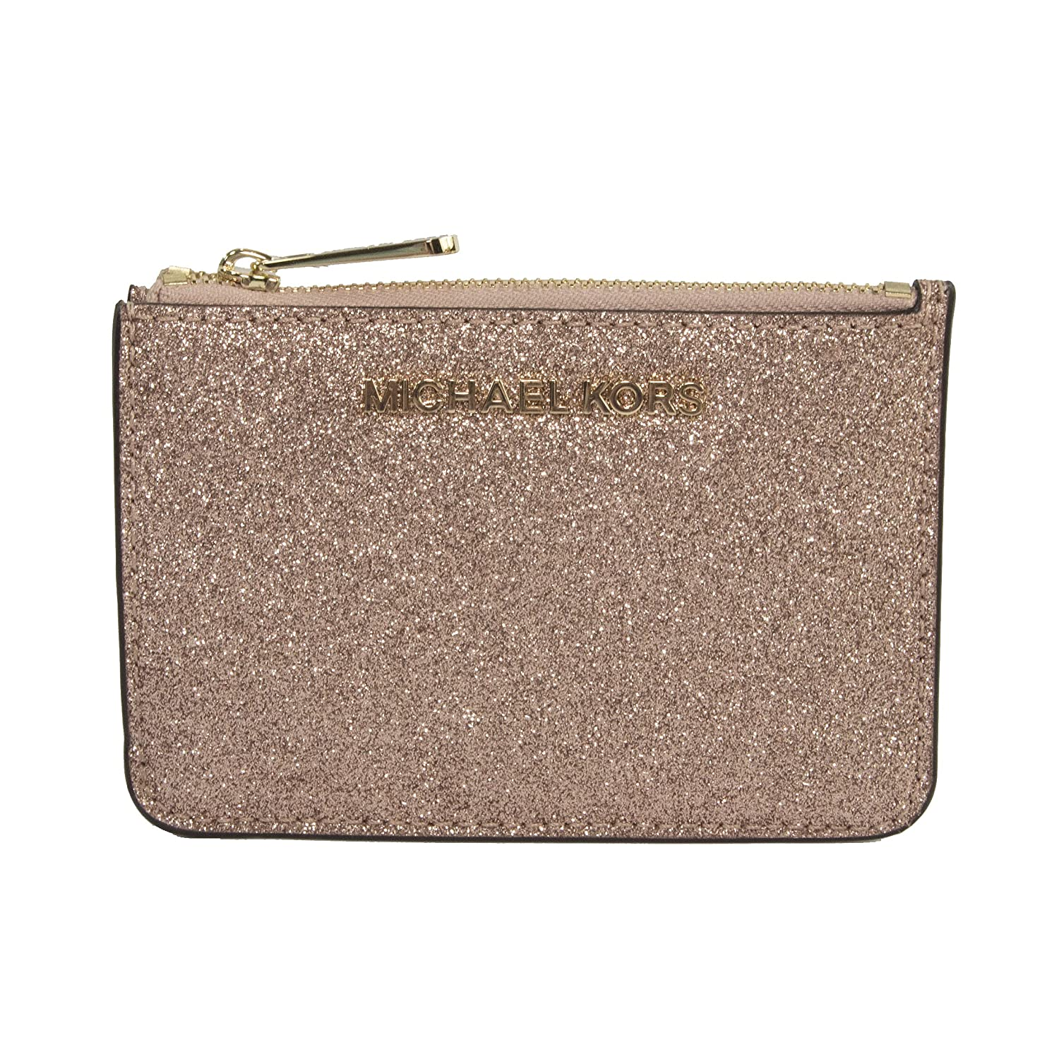 d0f89e4437b7 Michael Kors Rose Gold Glitter Leather Jet Set Card Case Key Pouch Wallet   Amazon.co.uk  Clothing