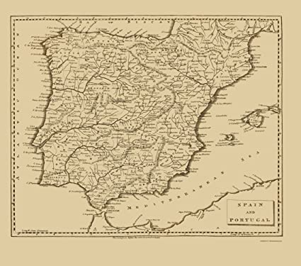 Amazon.com: Old Iberian Peninsula Map - Spain and Portugal ...