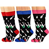 ARAD Novelty Bowling Socks for Men and Women, Crazy Sport-Themed Apparel (3-Pack)