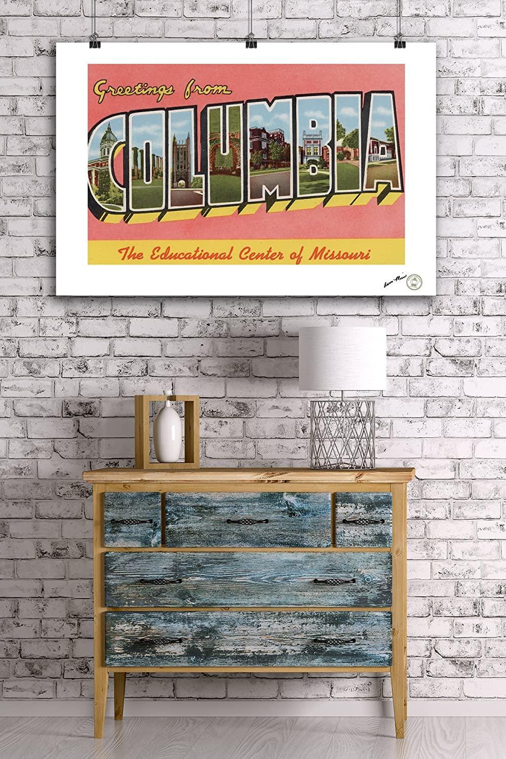 Columbia Large Letter Scenes Missouri 36x54 Giclee Gallery Print, Wall Decor Travel Poster