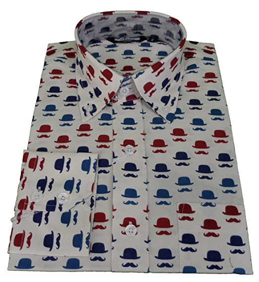 854bc37e9 Relco Mens Hat Moustache Retro Print Button Down Shirt: Amazon.co.uk:  Clothing