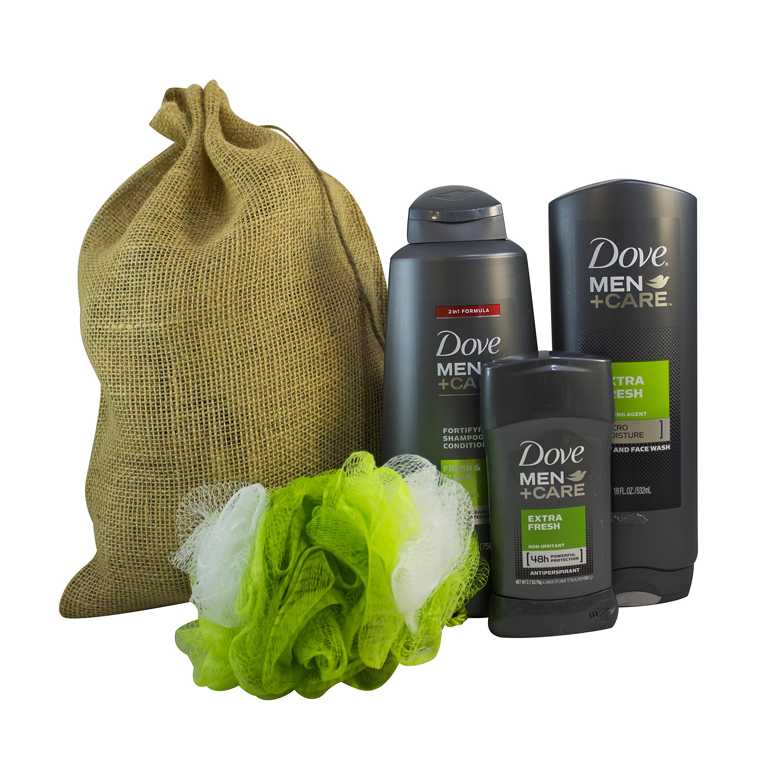 Dove Men + Care Gift Set with Large Full Size Shampoo + Conditioner, Body and Face Wash, Deodorant, and Body Pouf in Gift Bag (Extra Fresh)
