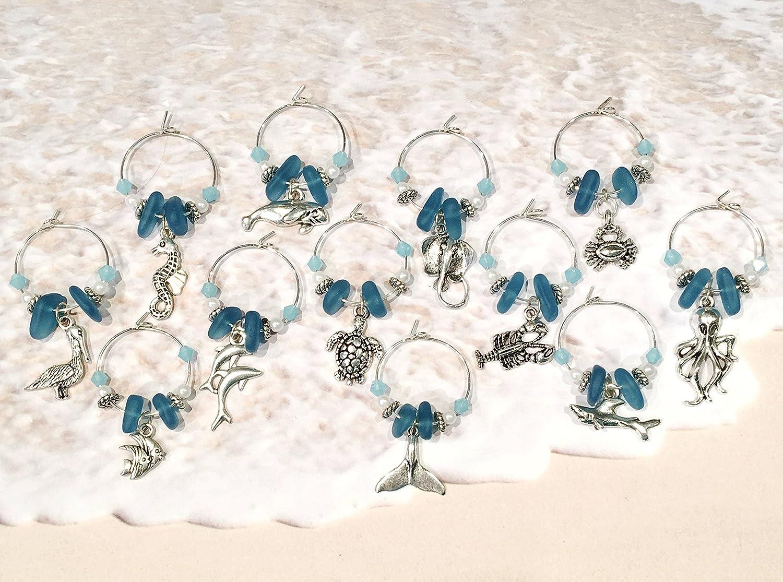 Sea Life Gifts Beach Wine Charms Set of 12