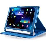 【全4色】IVSOオリジナルLenovo Yoga Tablet 2 10インチ (2014 Oct Release) (Lenovo Yoga Tablet 2 10インチ だけ 適用) 専用PUレザーケース 超薄型 最軽量 内包型 (ブルー)