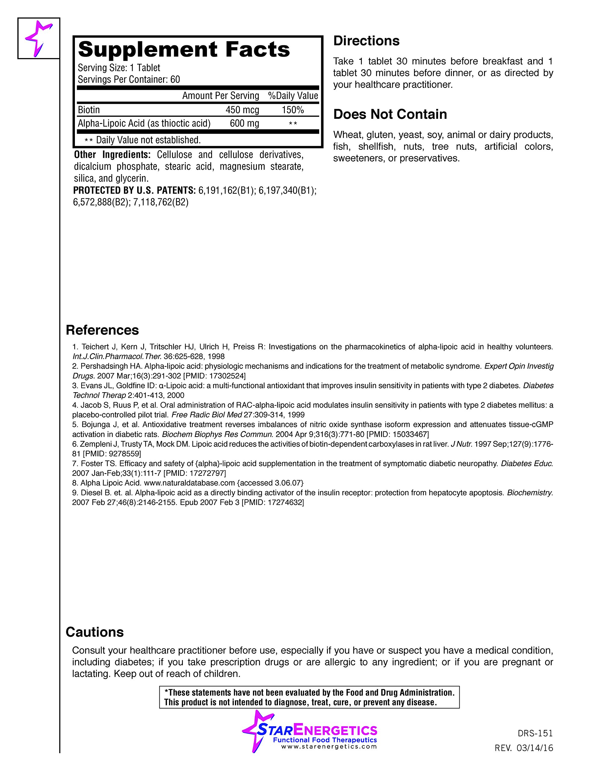 Alpha Lipoic Acid - Gluco-Recharge 60 Tablets 600mg, Biotin 450mcg, Controlled-Release, Gluten Free, cGMP, Blood Sugar Control