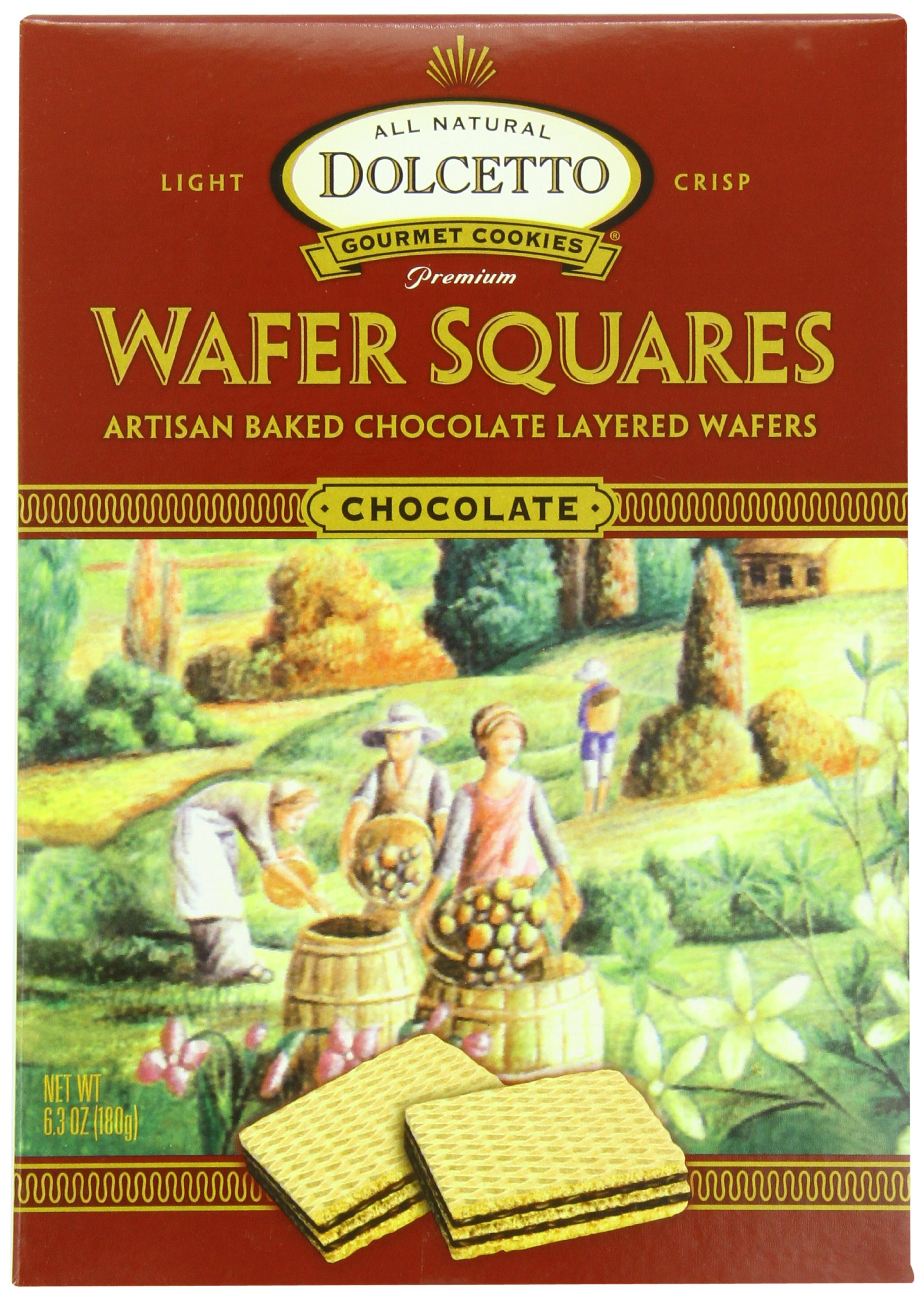 Dolcetto All Natural Wafer Squares, Chocolate, 6.3 Ounce (Pack of 12)