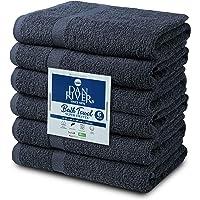 DAN RIVER 100% Cotton 6 Pack Gray Bath Towel Set - 22 x 44 Bath Towel - Ultra Soft Bath Towel - Highly Absorbent Bath Towel - Gym Pool Towel - Spa Bath Towel - Lightweight Bath Towels Quick Dry