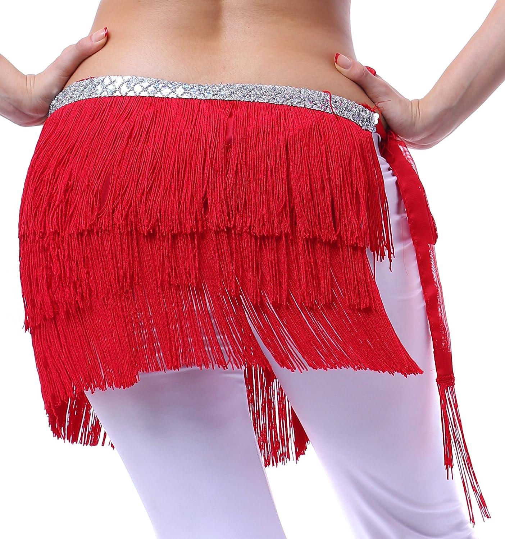 Fairycece Belly Dance Hip Scarf Zumba Fitness Scarf Sequins 3 Line Tassel Fringe