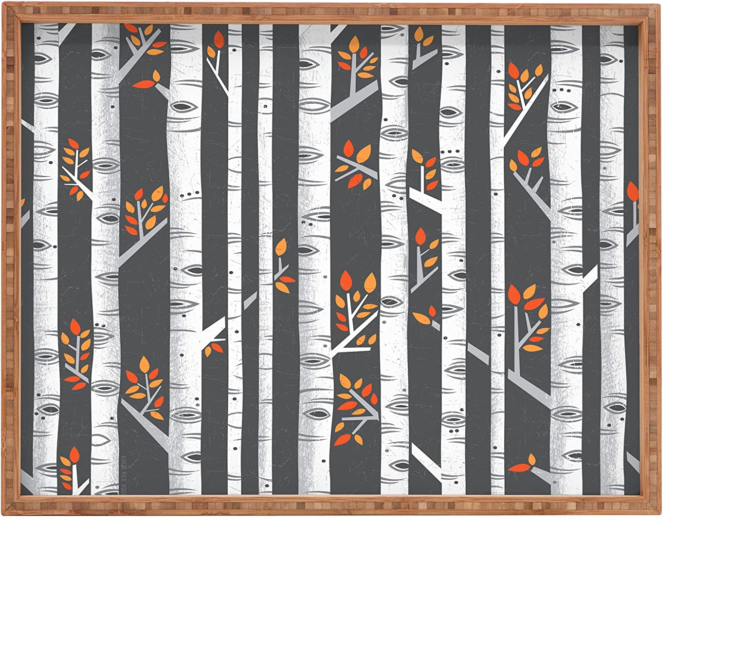 14 x 18 Deny Designs Lucie Rice Birches Be Crazy Indoor//Outdoor Rectangular Tray