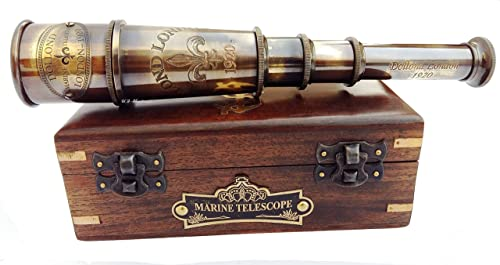 Dollond London 1920 Marine Collectible Home Decor Nautical Spyglass Antique  Mounted Solid Brass 15 Inch Pirate