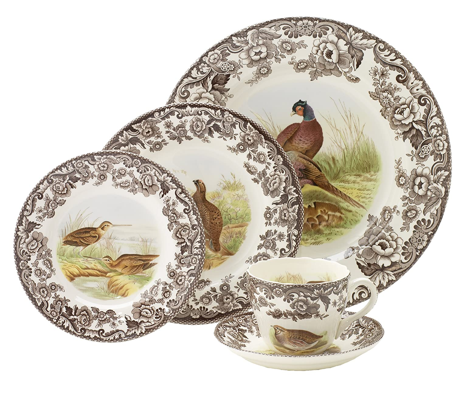 Amazon.com | Spode Woodland 5 Piece Placesetting Bread Plates Bread u0026 Butter Plates  sc 1 st  Amazon.com & Amazon.com | Spode Woodland 5 Piece Placesetting: Bread Plates ...