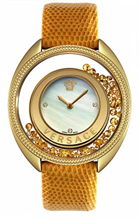acd4a2fac74c Versace 86Q721md497-S585 Women's Diamond White Mop Dial Golden Yellow  Genuine Lizard Watch