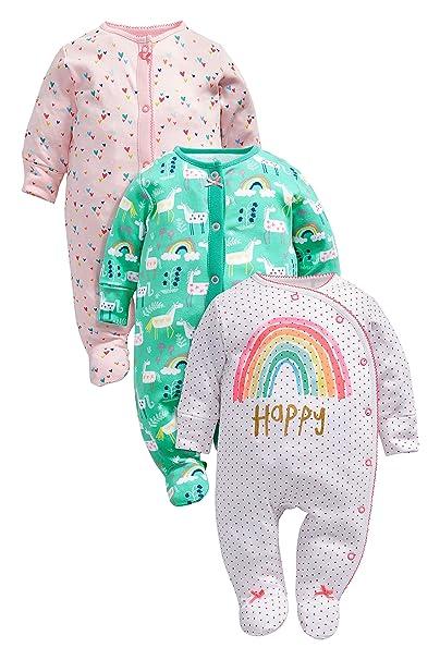 next Bebé Niña Paquete De Tres Pijamas Unicornio Ropa De Dormir