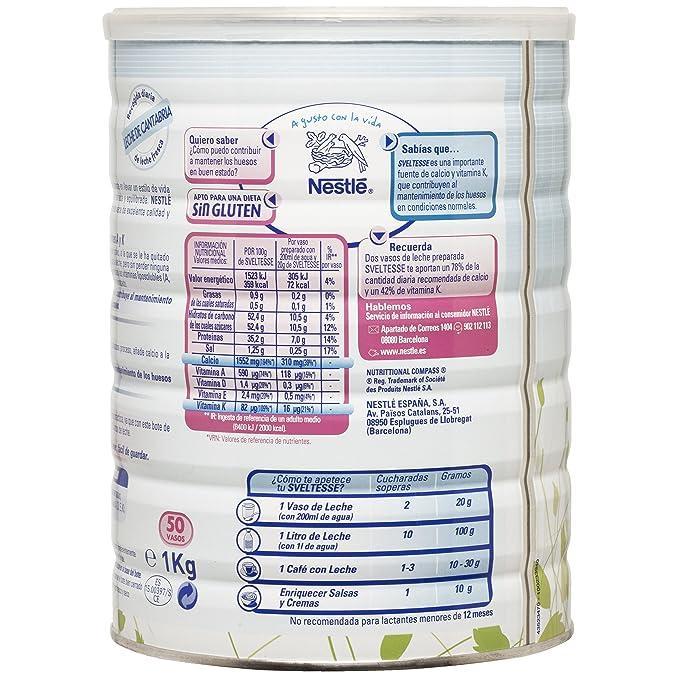 Nestlé Sveltesse - Leche desnatada en Polvo - Bote 12 x 1 kg: Amazon.es: Alimentación y bebidas