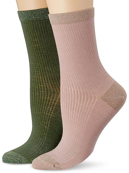 Dim Mi- chaussette côtelées Effet Brillant x2, Calcetines para Mujer, Multicolore (Nude