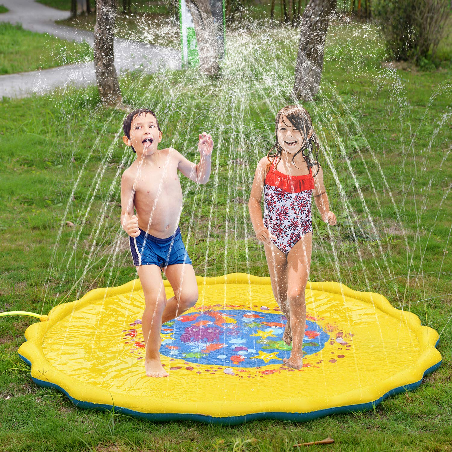 BATTOP Splash Play Mat 68in-Diameter Outdoor Water Play Sprinklers Summer Fun Backyard Play for Infants Toddlers and Kids (Yellow) best summer water toys
