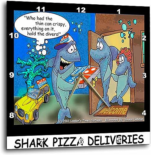 3dRose Londons Times Fish Fishing Deep Beneath Cartoons – Shark Pizza Delivery – 10×10 Wall Clock DPP_2444_1