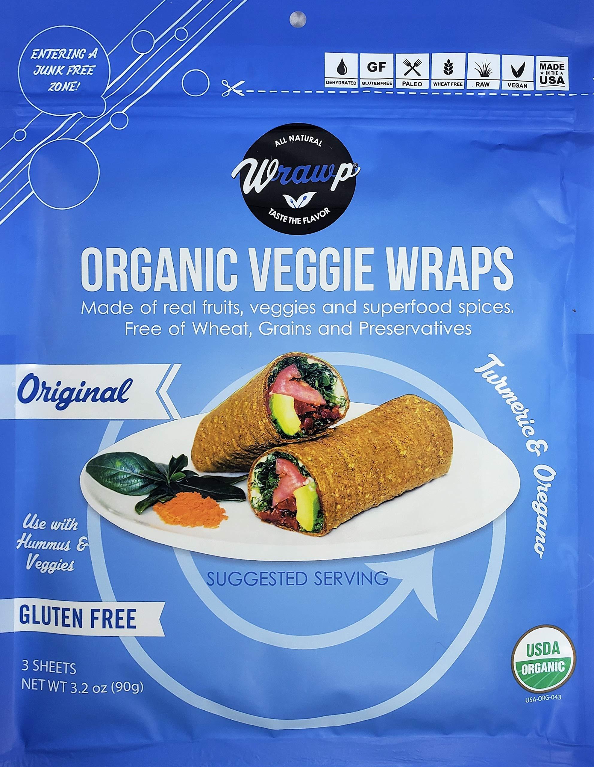 Raw Organic Mini Original Veggie Wraps (4 Pack) | Wheat-Free, Gluten Free, Paleo Wraps, Non-GMO, Vegan Friendly Made in the USA