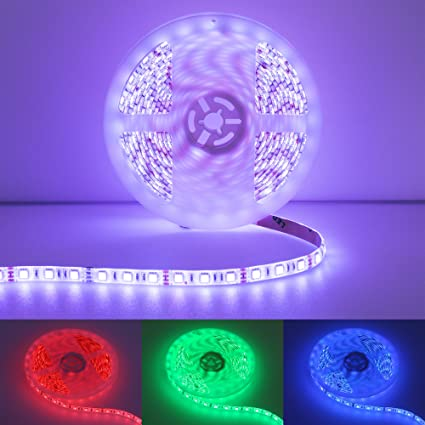 Amazon quntis led light strip kit 12v rgb waterproof led quntis led light strip kit 12v rgb waterproof led string lights 164ft smd mozeypictures Image collections