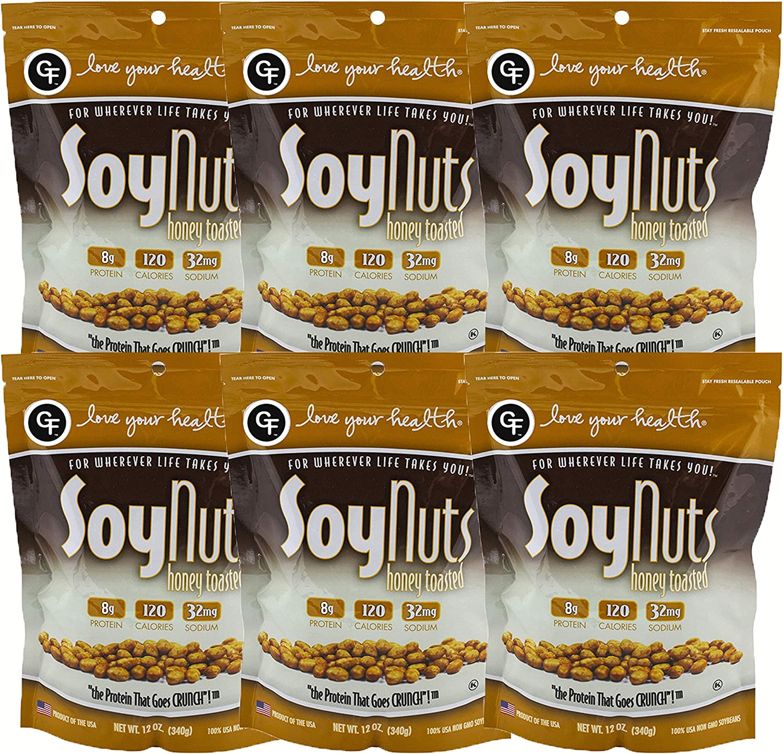 Love Your Health Miel tostada Soy Nuts rica en proteínas de soja frutos secos asados, no gmo, sin gluten saludable Snacks de soja bocadil paquete de 6 ...